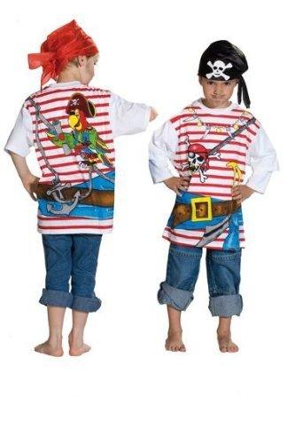 Spieleshirt Pirat Piratenshirt Shirt Seeräuber Pirates T-Shirt für Kinder Piraten Freibeuter Karibik Kindergeburtstag Gr. 104, 116, 128, 140, 152, Größe:140 by Rubies -