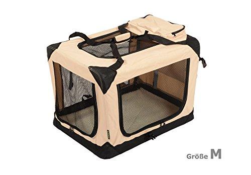Jespet Hundetransportbox faltbar - soft Transportbox für Tiere– klappbare Transporttasche Hunde, Katze & Kleintier M Beige
