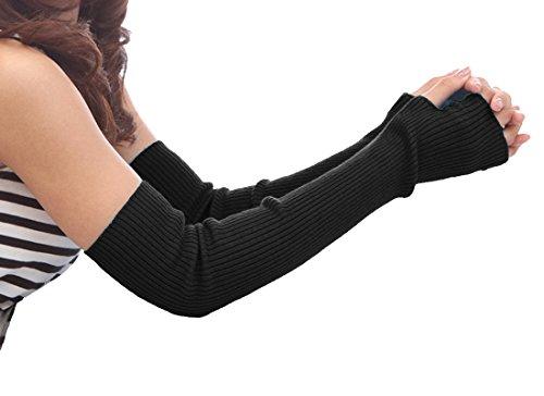 guanti lunghi donna NOVAWO Donna Inverno Guanti senza dita maglia lunghi Manicotti