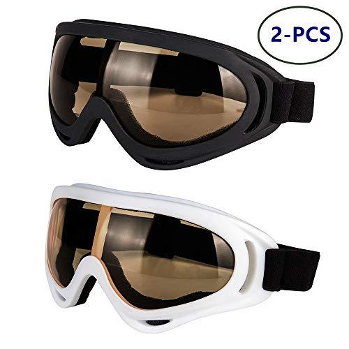 Motorradbrille - Brille 2er-Set - Dirt Bike ATV Motocross Anti-UV verstellbare Offroad-Schutzkampfbrille für Männer, Frauen, Kinder, Jugendliche, Erwachsene,Black+White/Tawny Lens