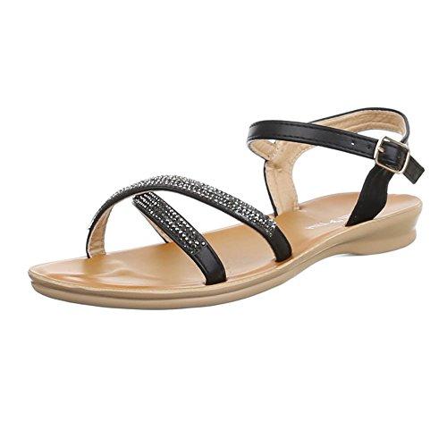 Damen Schuhe, AU-202, SANDALEN STRASSBESETZTE Schwarz