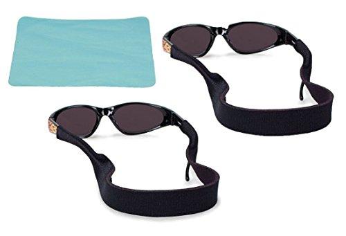 Wommty Neopren Sonnenbrille Gurt & Sonnenbrille Halter | Rutschfeste und schnell trocknende Active Sportbrille Gurt | Brillenhalter für Männer Frauen Jungen Mädchen 2pc Bundle + Tuch