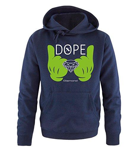 Comedy Shirts - DOPE Diamond - Comic Hand - Uomo Hoodie cappuccio sweater - taglia S-XXL vari colori blu navy / bianco-verde