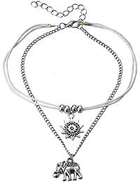 Tobilleras elefante – El sol de elefante con perlas de imitación, brazalete para pie, concha, estrella de mar, yoga, playa, tobillera, accesorios para mujeres y niñas