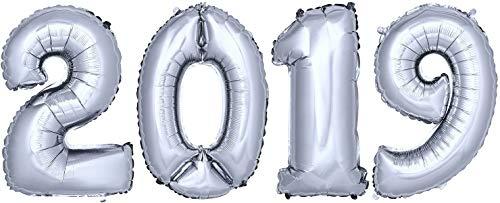 DekoRex® 2019 Ballons Folienballons Luftballons Silvester Neujahr Höhe: ca. 80cm in Silber