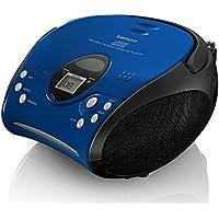 Lenco SCD24 - CD-Player für Kinder - CD-Radio - Stereoanlage - Boombox - UKW Radiotuner - Titel Speicher - 2 x 1,5 W RMS-Leistung - Netz- und Batteriebetrieb ? Blau Schwarz