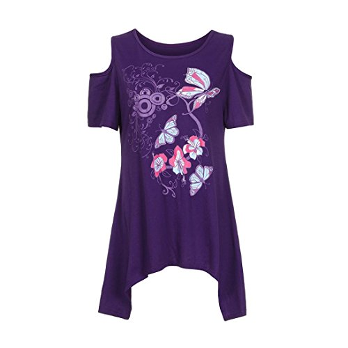 Lilicat Frauen Kurzarm Tunika Casual T-Shirt Oberteil Retro Bluse Damen Tank Top Rundhals Hemd Schmetterlings-Print Schulter Oberteile Vintage Bluse T-Shirt Lässige Tuniken (M, Violet) -