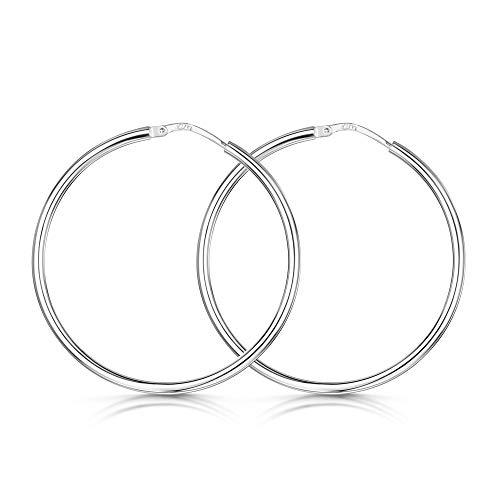 Amberta® Cerchi in Argento Sterling 925 - Orecchini Creoli a cerchio - Diametro: 7 10 15 20 25 35 45 55 mm (35mm)