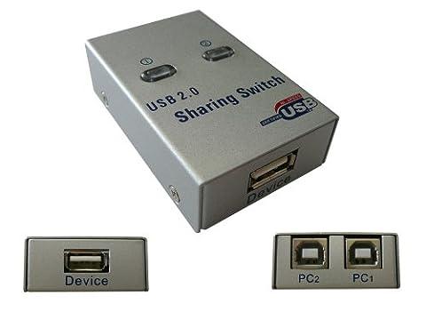 KALEA-INFORMATIQUE © - Boitier de partage USB 2.0 AUTOMATIQUE / Switch 2 ports - Compatible Imprimantes - BOITIER