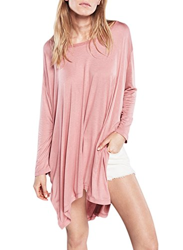 Azbro Women's Batwing Sleeve Side Slit Loose Solid Tee pink