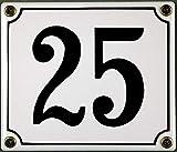 FS - Targhetta Smaltata Numero civico 25, 12 x 14 cm, Colore: Bianco/Nero