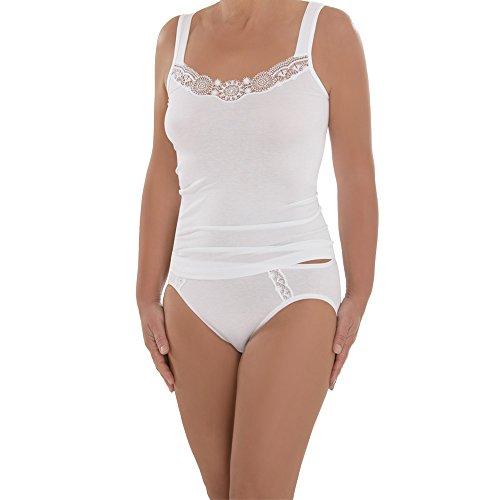 Comazo Damen Unterhemd - 2er Pack - Top mit hochwertiger Spitze - Wäsche aus Micro-Modal - Auch für große Größen geeignet - Farbe Weiß - Gr. 48
