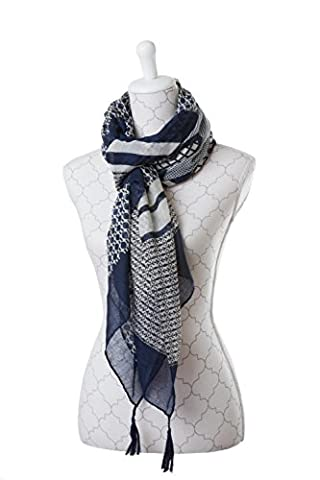 Large Multicolour Cotton/Viscose Fantasy Scarf with Abstract Pattern Fringed Edge Blue White Grey