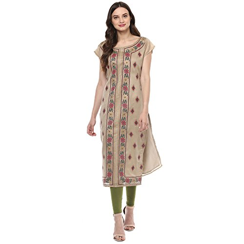 Indimania Women's Beige Color Cap Sleeve Colour Pigment Print Straight Festive Wear Chanderi Silk Kurta (IMKUCH20040)  available at amazon for Rs.603