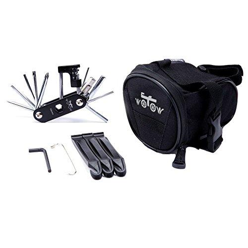 Fahrrad-Multitool und Satteltasche, WOTOW Fahrradwerkzeug Multifunktionswerkzeug Fahrrad Reparatur Set Multifunktions Werkzeug mit Reifenheber