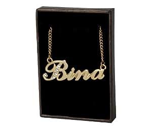 Collier Prenom Bina - Plaque or 18k Collier personnalise. 40-48 Chaine Belcher cm avec boite-cadeau et un sac-cadeau. 2mm d'epaisseur nominale