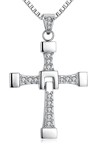 Ostan - Men's Jewelry 316L Stainless Steel Religious Cross Pendant Necklace - Black