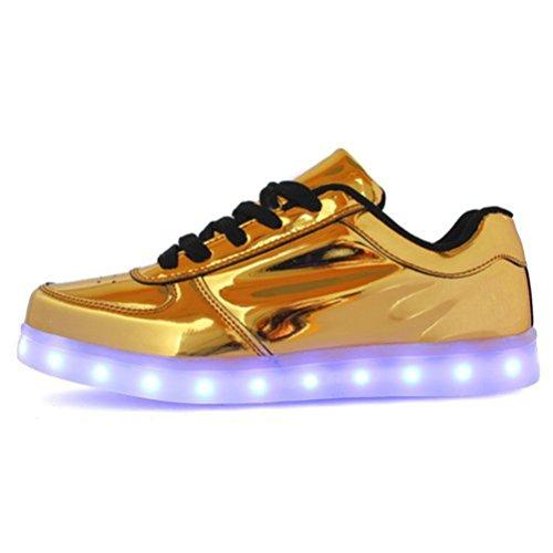 [Présents:petite serviette]JUNGLEST® Chaussures de Sports Baskets Lacet LED Clignotante avec 7 couleurs USB Rechargeable Lumineux PU Cuir verni Or Ar Or