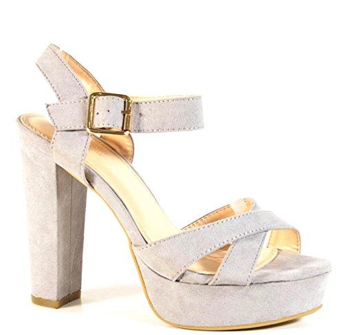 King Of Shoes Damen Riemchen Abend Sandaletten High Heels Pumps Slingbacks Velours Peep Toes Party Schuhe Bequem 07 (40, Grau) (High Plateau Heels Slingback)