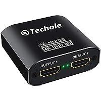 HDMI Splitter 4K Techole Duplicador HDMI 1x2, Aluminio Splitter HDMI 1 Entrada y 2 Salidas Soporta 4K, 3D, UHD, 1080P, HDCP para Xbox, PS4, PS3, BLU-Ray Player, HDTV, DVD, DVR and Apple TV