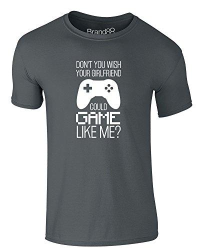 Brand88 - Gamer Girlfriend, Erwachsene Gedrucktes T-Shirt Dunkelgrau/Weiß