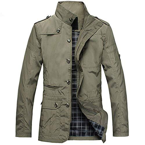 Herren Jacke Mantel Tragen Komfort Herbst Notwendig Mantel Fashion Spring Coat Langarm Vordertaschen Outerwear (Color : Khaki, Size : 2XL)