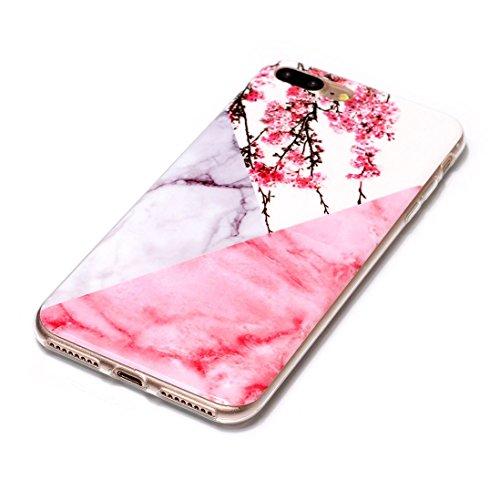 Hülle für iPhone 7 Wanxida Marmor Muster Bumper TPU Silikon Schutzhülle Soft Clear Case Cover Ultra Dünne Schlanke Etui Weiche Glatte Tasche Kratzfeste Stoßfeste Handyhülle-Rose Gold weißer Marmor Pflaumenblüte Marmor