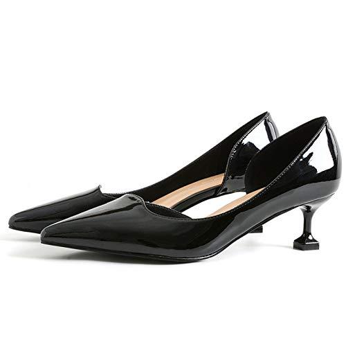 Frauen High Heels Dorsay Frau Court Schuhe Pumps Klassisch Beiläufig Formal Arbeit Büro Bequem Clever Schlüpfen Schuh Niedrig Mitte High Heels,Black-EU39=245 Dorsay Pump Schuhe
