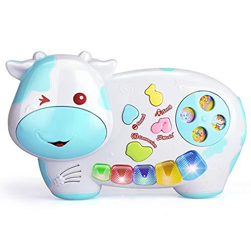 Mababys Spielzeug Klavier Keyboard Kinderpiano mit Trommel Puzzle frühe Bildung Kinderspielzeugtastatur Leichte Tiermusik Klavier Multifunktionales Musikspielzeug,Blue