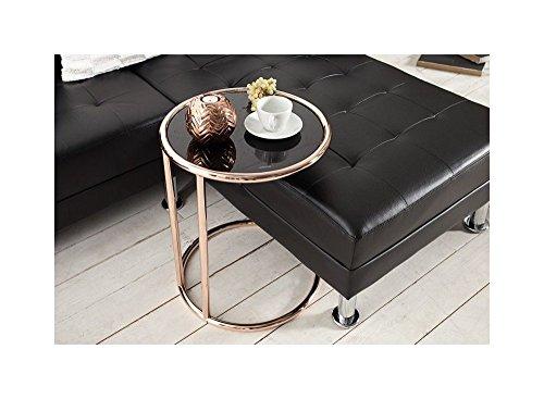 Designer Couchtisch Kupfer Schwarz Verchromtes Gestell Glastisch Tisch Beistelltisch REPRO Art Deko Höhe 55cm x 40cm Ø