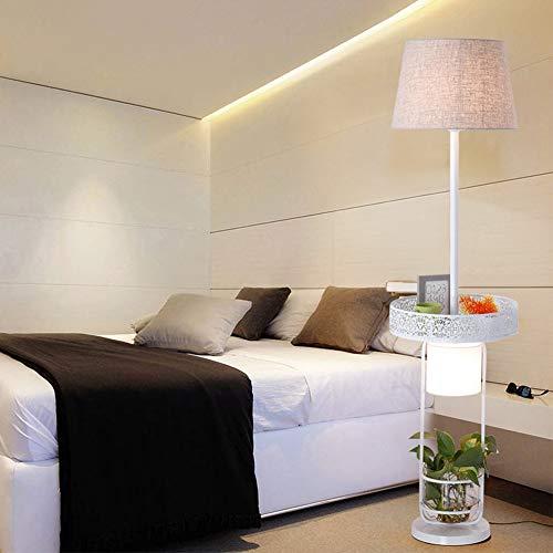 YHFX2 Helle Lesen und Craft Stehlampe LED - Modern Art Deco Pole Light - mit Stoff Schatten mit offenen schwarzen Display Rack mit Glaszylinder E27 02 (Farbe : A) -