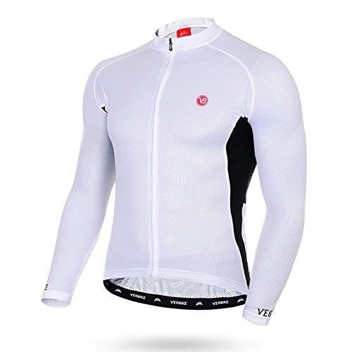 SonMo Sportbekleidung Fahrradanzug Reitanzug Fahrrad Trikot Radtrikot Jersey Mountain Biking Anzug Fahrradkleidung Fahrradshirts Sportjacke Langarm Frühling und Sommer Weiß 3XL