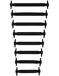 No plano elástico Tie silicona impermeable cordones rápidos cordones de las botas para adultos y niños - 16pc (Negro)