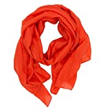 DOLCE ABBRACCIO WILD CAT Damen Schal Halstuch Tuch aus Chiffon für Frühling Sommer Ganzjährig (Orange)
