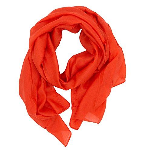 WILD CAT Damen Schal Halstuch Tuch aus Chiffon für Frühling Sommer Ganzjährig (Orange)