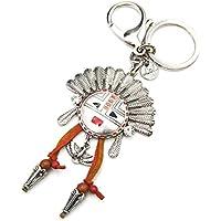 pt1140l–Portachiavi/gioiello di borsa–Testa Indiano copricapo piuma etnica metallo anticato con aquila e frange–moda fantasia - Anello Perla Indiana