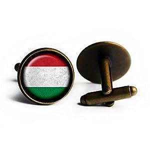Hungary Hungarian Flag Ungarn Ungarisch Flagge Antike Bronze Manschettenknöpfe