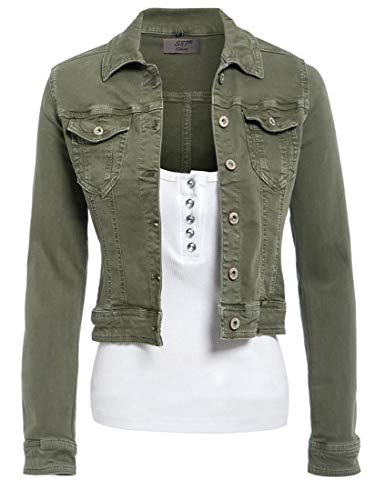 SS7 Damen ausgestattet Jeansjacke Damen Stretch Khaki Jean-Jacken-Größe 36-44 -