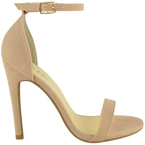 Tacón En Forma De Zapato De Acero Inoxidable Para Mujer Con Tobillo Etto Con Alfombra Peep Beige Cream Suede