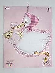 Idea Regalo - fiocco nascita cicogna da ricamare con orsetto rosa