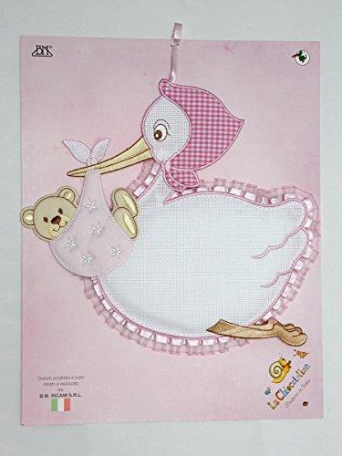 Fiocco nascita cicogna da ricamare con orsetto rosa