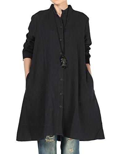 Vogstyle Damen Herbst Baumwolle Leinen Voller vorderer Knopf Blouse Kleid mit Taschen Style 1 XX-Large Black -