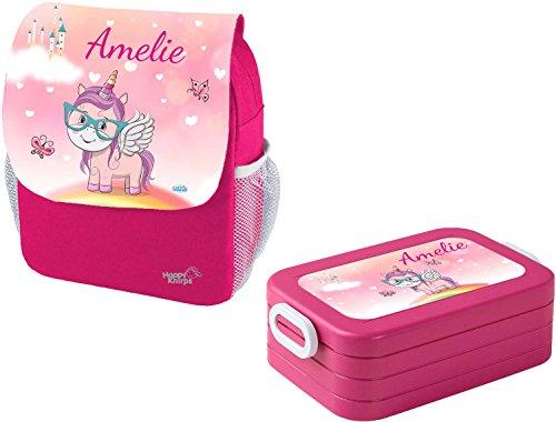 *Mein Zwergenland Set 1 Kindergartenrucksack und Brotdose Maxi Happy Knirps Next Print mit Name Einhorn, 2-teilig, Pink*