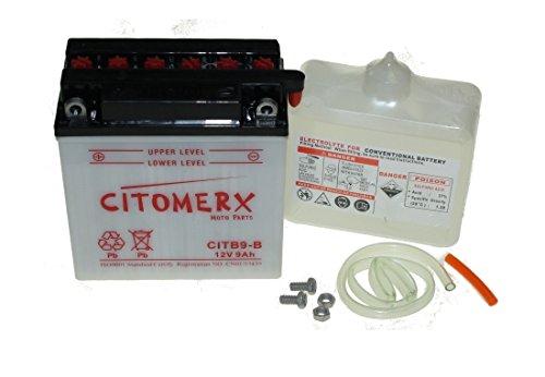 Batterie YB9-B 12V 9AH inkl. Säure DIN: 50914 für Aprilia RS 125, Cagiva, Daelim, Derbi, Gilera, Honda, KTM, Malaguti, Piaggio, Vespa Beverly, ET4, Triumph, Yamaha RD 200