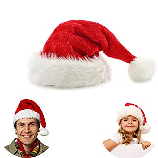 Chytaii Sombrero de Navidad Gorros Rojos de Papá Noel de Navidad Sombrero de Papé Noel de Felpa Corta para Niños y Adultos Celebración de Navidad Estilo Clásico Rojo Pelusa Corta