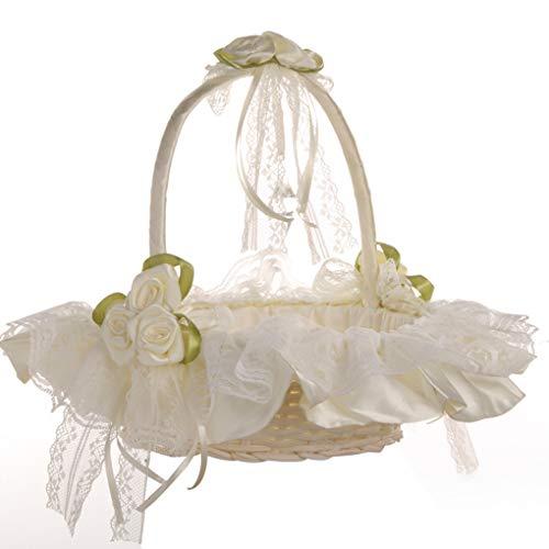 Floridivy Hochzeits-Spitze-Blumen-Korb Zeremonie-Partei süße Mädchen Brautjungfer Bambus Sammlung Obstkorb