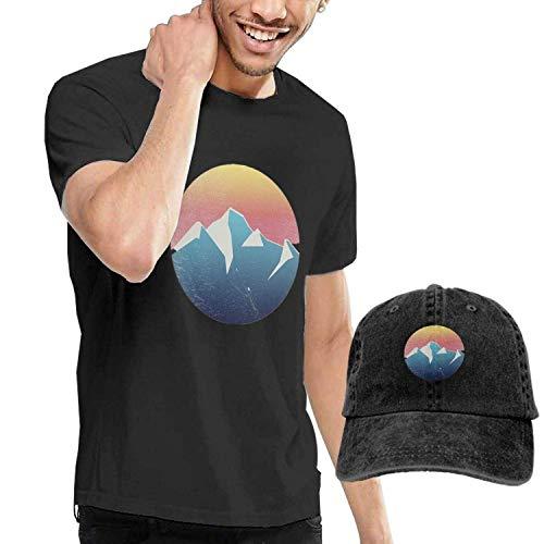 Kalinanai T-Shirts, T-Stücke, Abstract Mountain Sunset Mens Soft Casual T-Shirt with Unisex Fashion Denim Baseball Hats