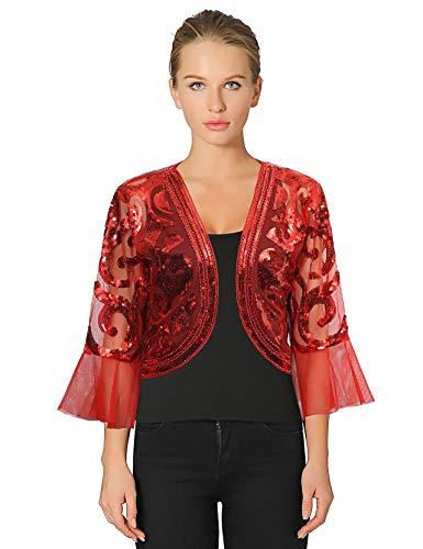 Metme 1920er Jahre Retro Schal Umschlagtücher für Abendkleider Stola für Hochzeit Party Gatsby Kostüm Accessoires Rot, Medium, EU40