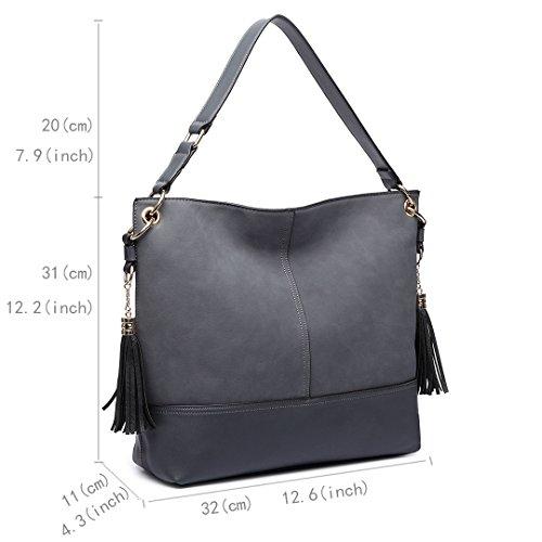 Miss LuLu Damentasche Messenger Hobo Bag Schultertasche Shopper Handtasche Geldbeutel Mattes Leder LT6616-Beige