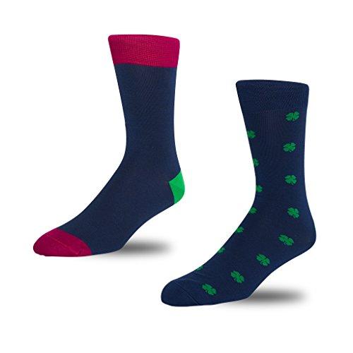 STÓR Herren Bambus Socken [2er Pack], Antibakterielle, atmungsaktive Herrensocken mit 80% Bambusfaser-Anteil! superweiches und luxuriöses Material (Mittel (39-42EU / 6-8UK), Grün-Rosa-Blau)